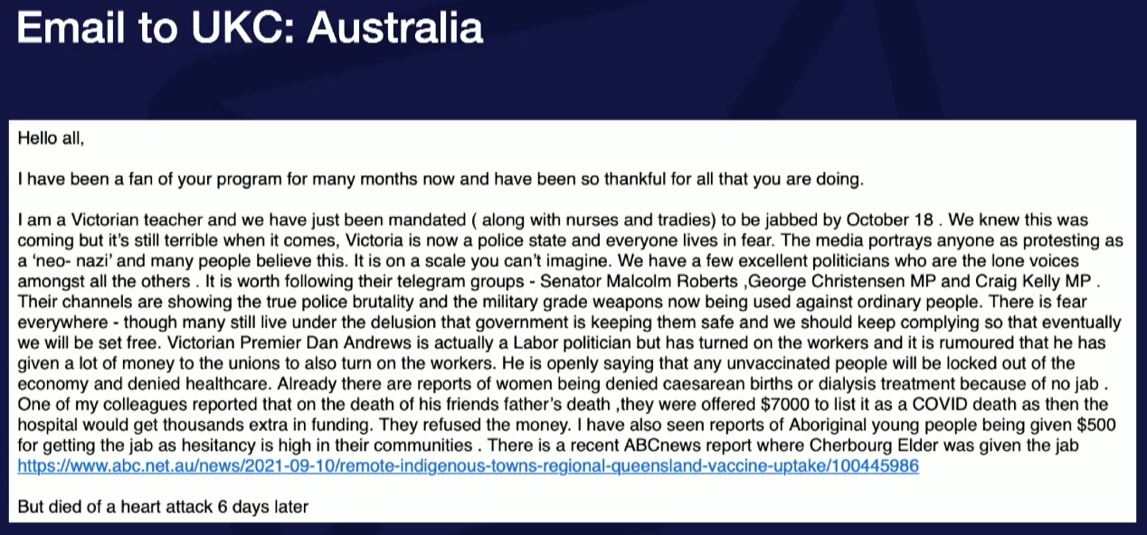 Email from Australia